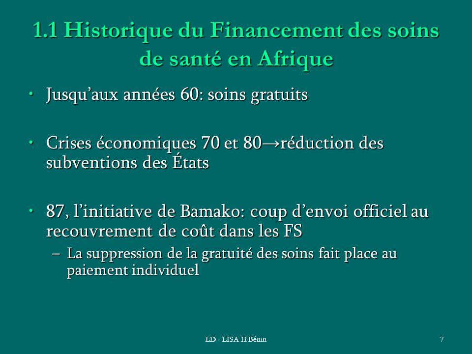 LD - LISA II Bénin7 1.1 Historique du Financement des soins de santé en Afrique Jusquaux années 60: soins gratuitsJusquaux années 60: soins gratuits C