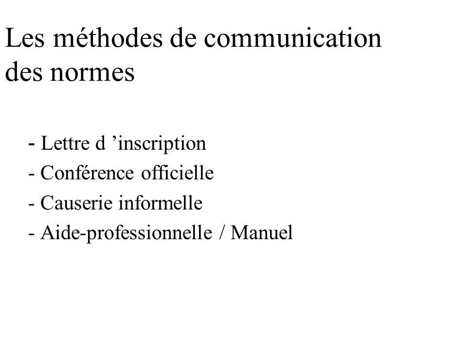 Les étapes d élaboration d une norme (suite 5 ) 8. Etablir les normes - Elles doivent être (valables, fiables, claires, réalistes, mesurables) 9. Obte