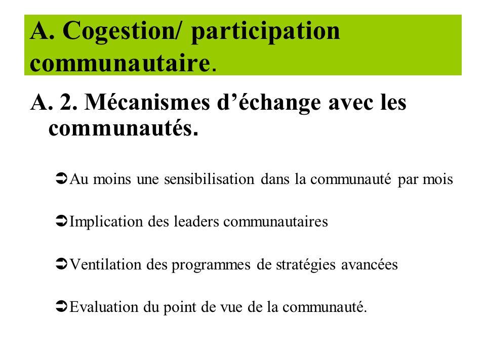 A- Cogestion/ participation communautaire. A-1. Fonctionnalité des COGECS (critères de fonctionnalité) COGECS formé lélaboration des plans opérationne