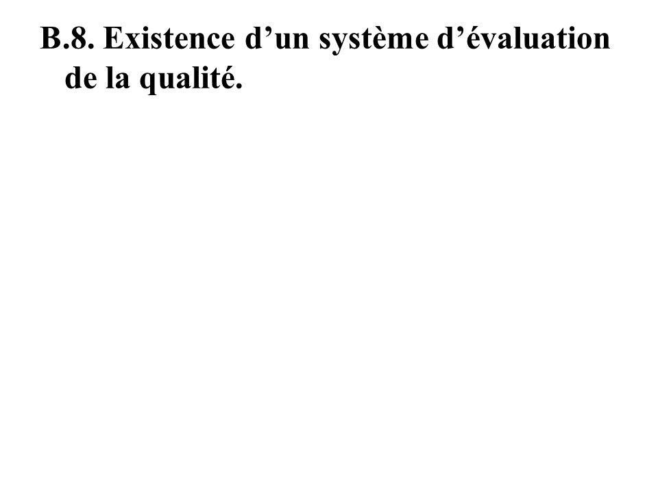 B.7. Processus de gestion de la qualité. Existence doutils de gestion dAQS Existence des équipes AQS et réunions régulières. Dépenses du semestre sont