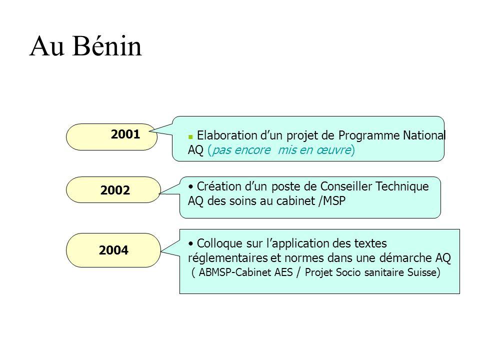 Au Bénin 1995-1997 En 1998 Accent fortement mis sur lamélioration de la qualité des services de santé: A tous les niveaux de la pyramide sanitaire nat