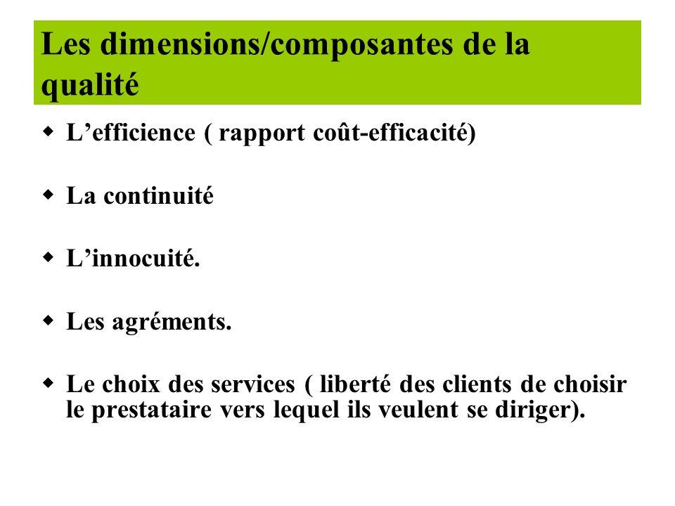 wLa compétence technique (personnels qualifiés, plateau technique adéquat) wLaccès aux services (accessibilité géographique et financière) wLefficacit