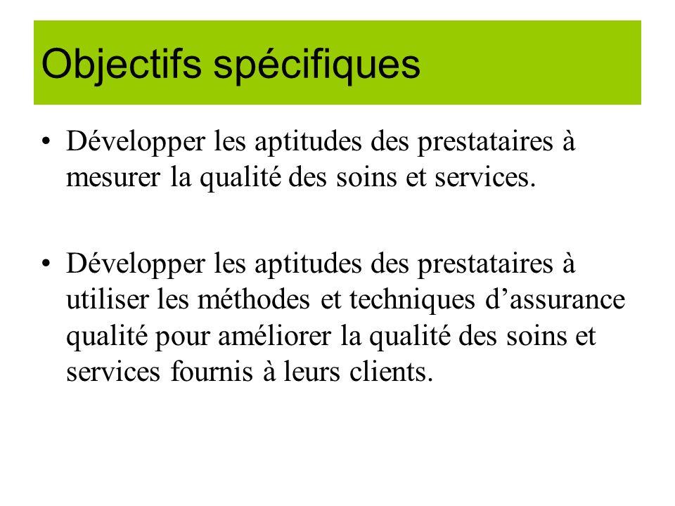Le contrôle de la qualité Cest le processus par lequel on vérifie (mesure) que chaque personne et chaque service appliquent les normes définies et fournissent constamment des services de bonne qualité.