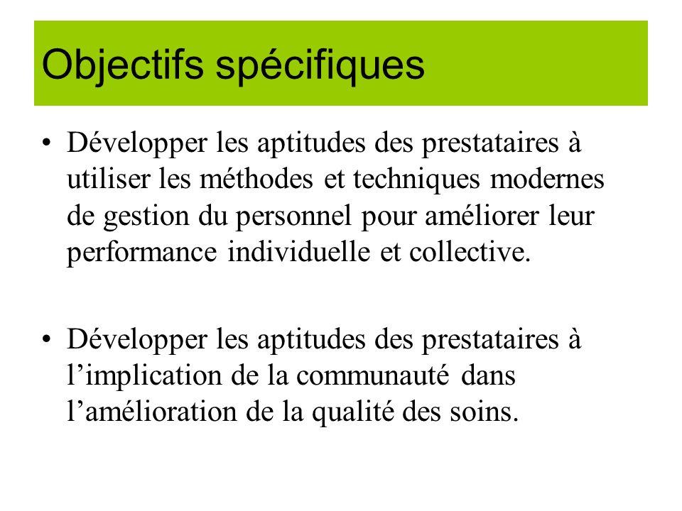 Objectifs spécifiques Développer les aptitudes des prestataires à utiliser les méthodes et techniques modernes de gestion du personnel pour améliorer leur performance individuelle et collective.