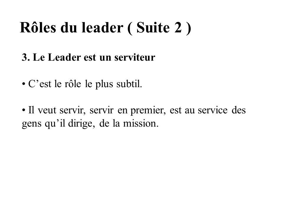 Rôles du leader ( Suite 1 ) 2. Le Leader est un enseignant Aide les gens à acquérir des vues plus précises et plus pénétrantes de la réalité actuelle