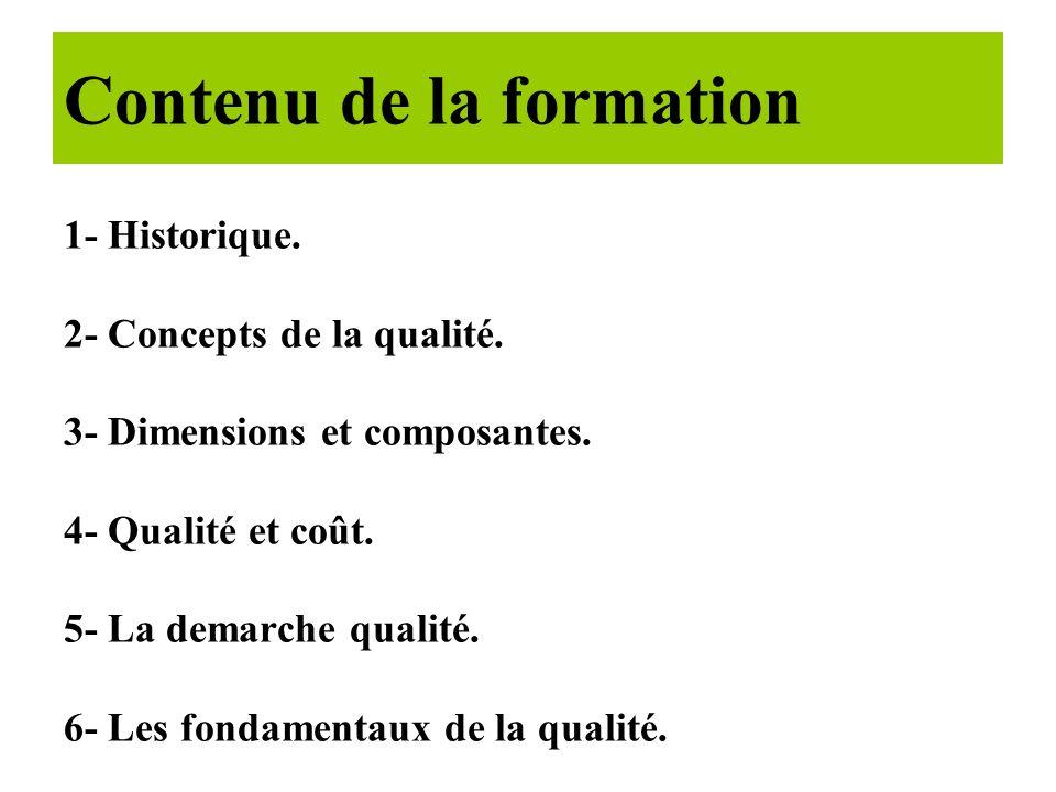 1- Historique.2- Concepts de la qualité. 3- Dimensions et composantes.