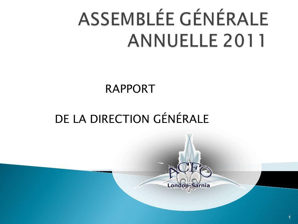 RAPPORT DE LA DIRECTION GÉNÉRALE 1