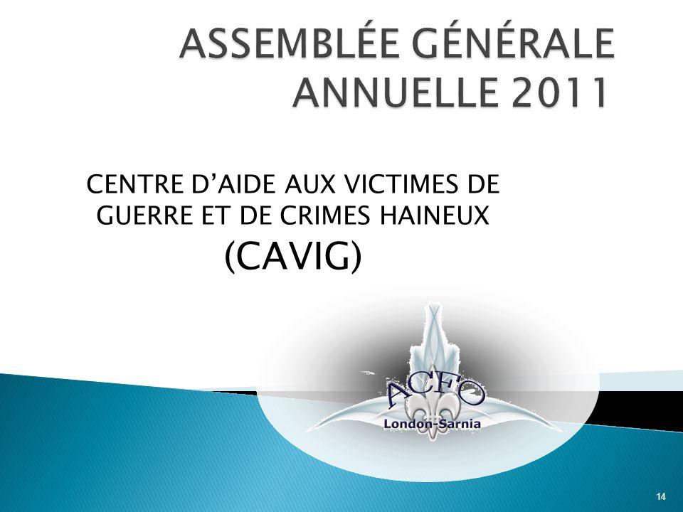 CENTRE DAIDE AUX VICTIMES DE GUERRE ET DE CRIMES HAINEUX (CAVIG) 14
