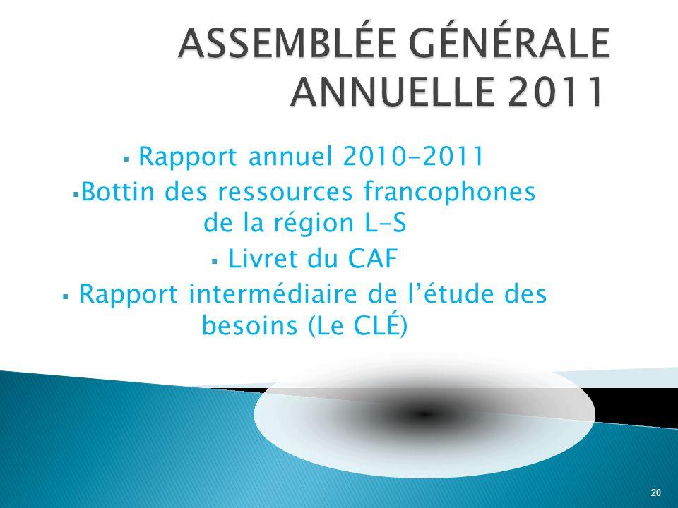 Rapport annuel 2010-2011 Bottin des ressources francophones de la région L-S Livret du CAF Rapport intermédiaire de létude des besoins (Le CLÉ) 20