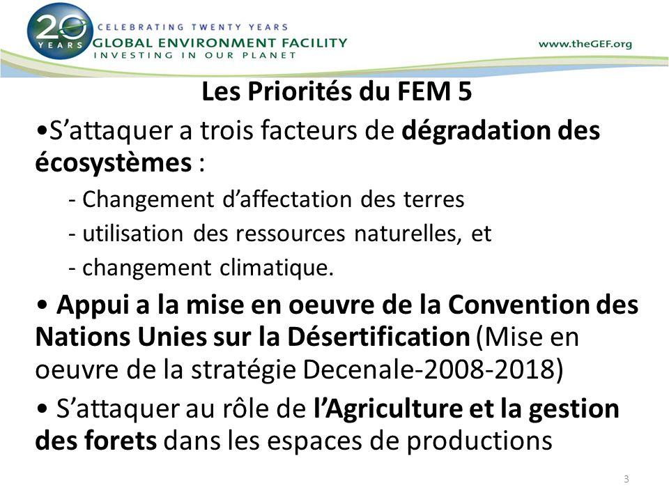Les Priorités du FEM 5 Sattaquer a trois facteurs de dégradation des écosystèmes : - Changement daffectation des terres - utilisation des ressources n