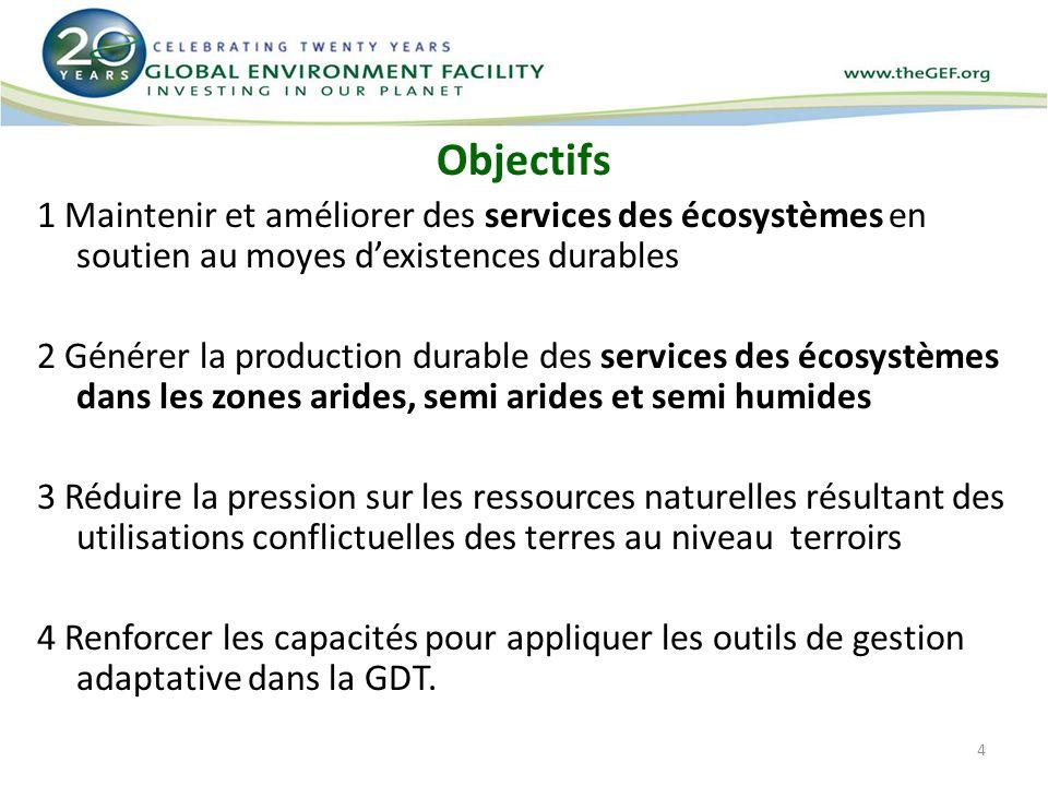 4 Objectifs 1 Maintenir et améliorer des services des écosystèmes en soutien au moyes dexistences durables 2 Générer la production durable des service
