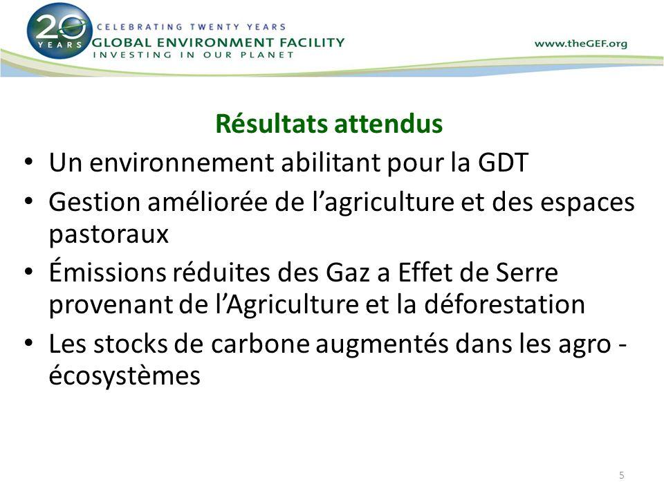 5 Résultats attendus Un environnement abilitant pour la GDT Gestion améliorée de lagriculture et des espaces pastoraux Émissions réduites des Gaz a Ef
