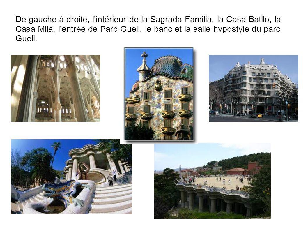 De gauche à droite, l'intérieur de la Sagrada Familia, la Casa Batllo, la Casa Mila, l'entrée de Parc Guell, le banc et la salle hypostyle du parc Gue