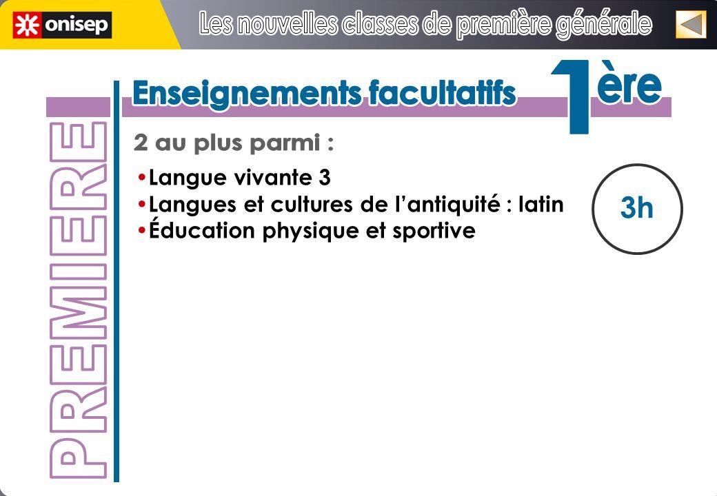 3h Langue vivante 3 Langues et cultures de lantiquité : latin Éducation physique et sportive