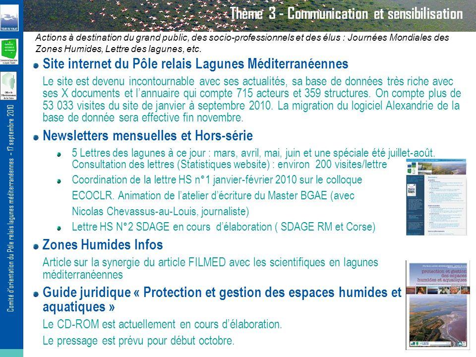 Comité dorientation du Pôle relais lagunes méditerranéennes – 17 septembre 2010 Thème 3 - Communication et sensibilisation Actions à destination du grand public, des socio-professionnels et des élus : Journées Mondiales des Zones Humides, Lettre des lagunes, etc.