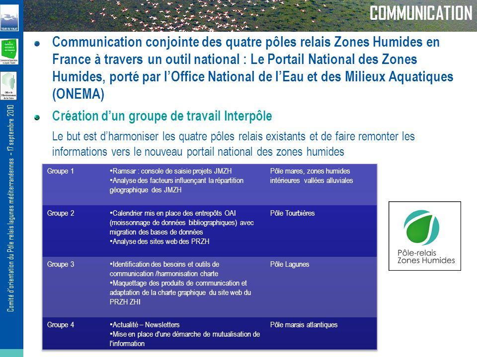 Comité dorientation du Pôle relais lagunes méditerranéennes – 17 septembre 2010 COMMUNICATION Communication conjointe des quatre pôles relais Zones Hu