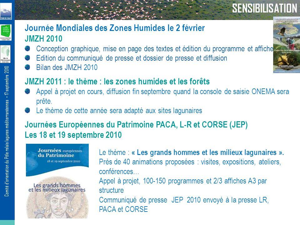 Comité dorientation du Pôle relais lagunes méditerranéennes – 17 septembre 2010 SENSIBILISATION Journée Mondiales des Zones Humides le 2 février JMZH