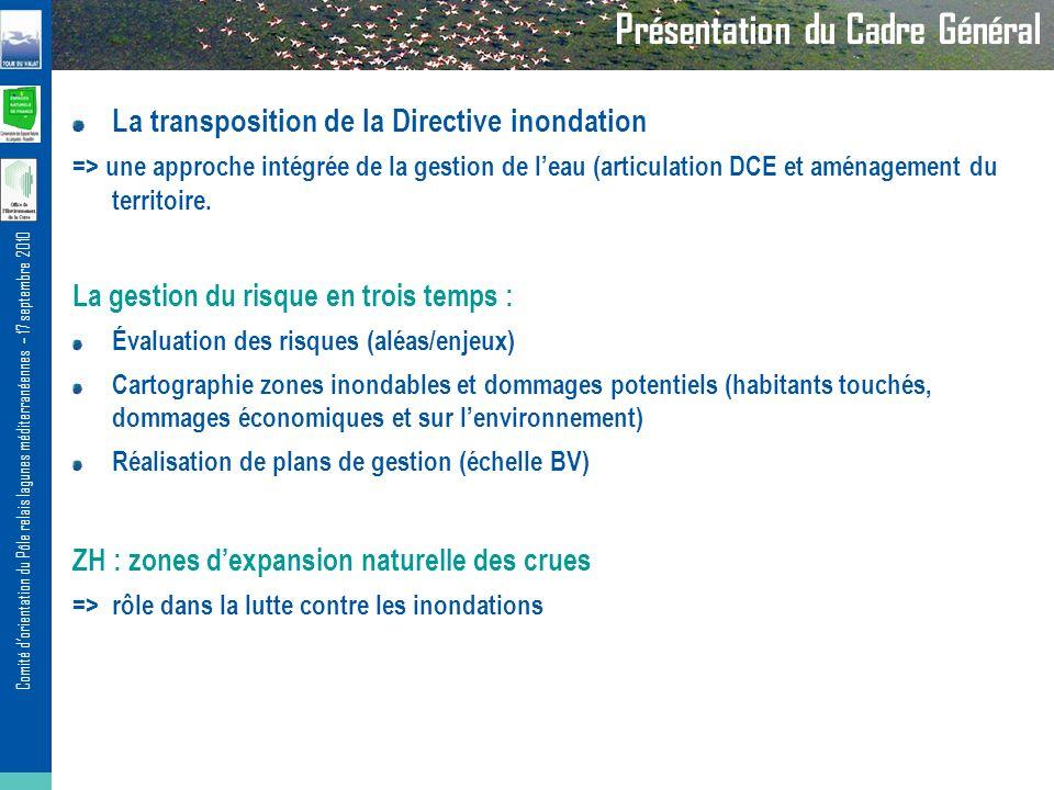 Comité dorientation du Pôle relais lagunes méditerranéennes – 17 septembre 2010 Présentation du Cadre Général La transposition de la Directive inondation => une approche intégrée de la gestion de leau (articulation DCE et aménagement du territoire.