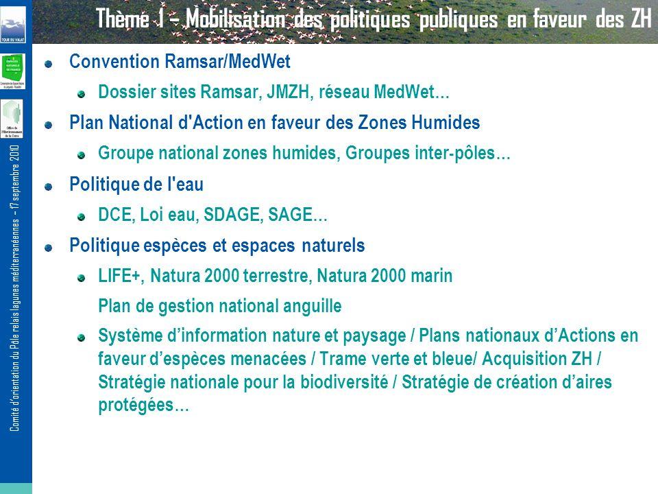 Comité dorientation du Pôle relais lagunes méditerranéennes – 17 septembre 2010 Thème 1 – Mobilisation des politiques publiques en faveur des ZH Conve