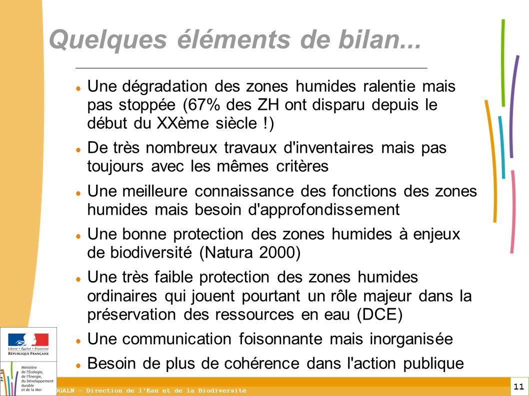 11 DGALN - Direction de l'Eau et de la Biodiversité 11 Une dégradation des zones humides ralentie mais pas stoppée (67% des ZH ont disparu depuis le d