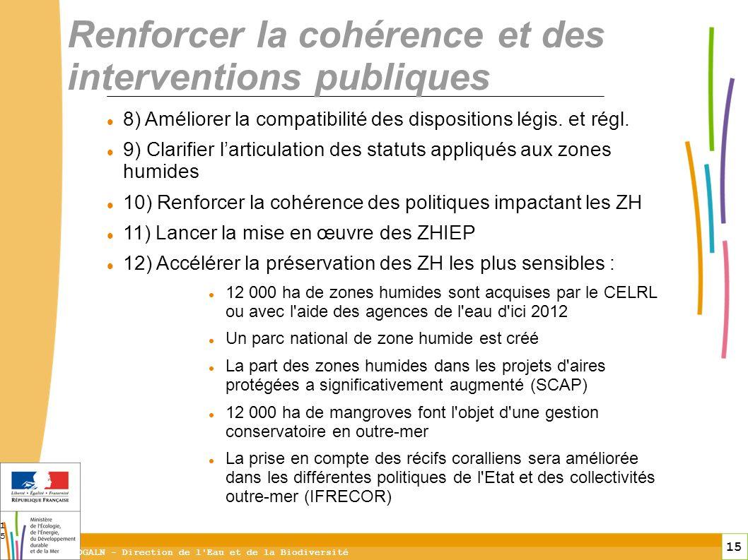 15 DGALN - Direction de l'Eau et de la Biodiversité 15 Renforcer la cohérence et des interventions publiques 8) Améliorer la compatibilité des disposi