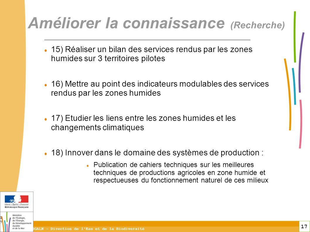 17 DGALN - Direction de l'Eau et de la Biodiversité 17 Améliorer la connaissance (Recherche) 15) Réaliser un bilan des services rendus par les zones h