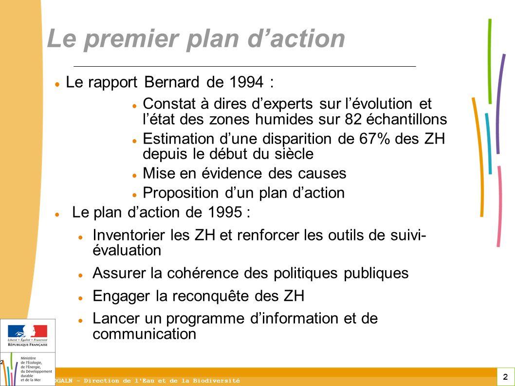 2 DGALN - Direction de l'Eau et de la Biodiversité 2 Le rapport Bernard de 1994 : Constat à dires dexperts sur lévolution et létat des zones humides s