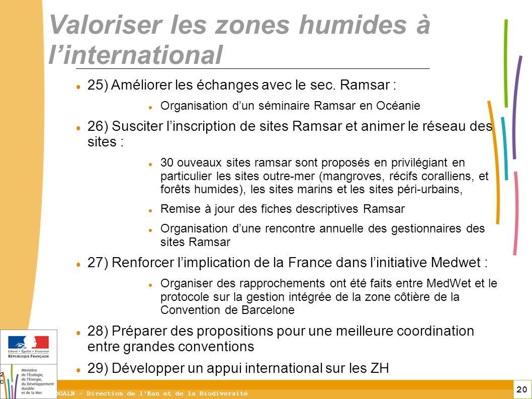 20 DGALN - Direction de l'Eau et de la Biodiversité 20 Valoriser les zones humides à linternational 25) Améliorer les échanges avec le sec. Ramsar : O