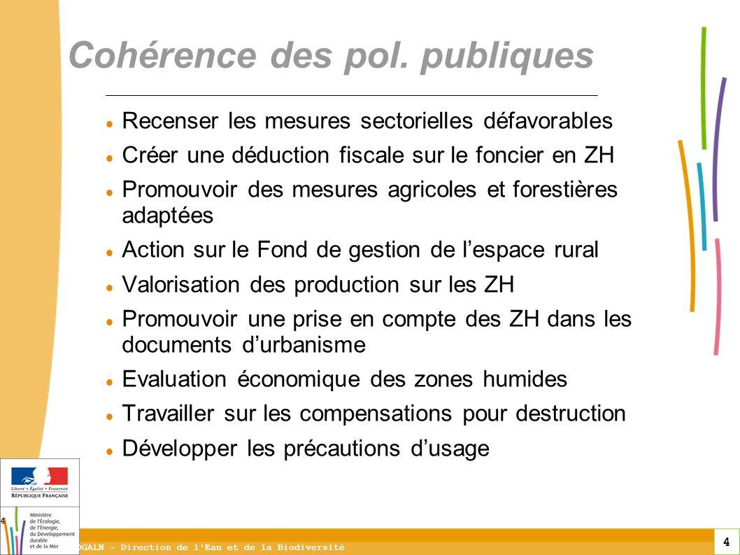 4 DGALN - Direction de l'Eau et de la Biodiversité 4 Recenser les mesures sectorielles défavorables Créer une déduction fiscale sur le foncier en ZH P