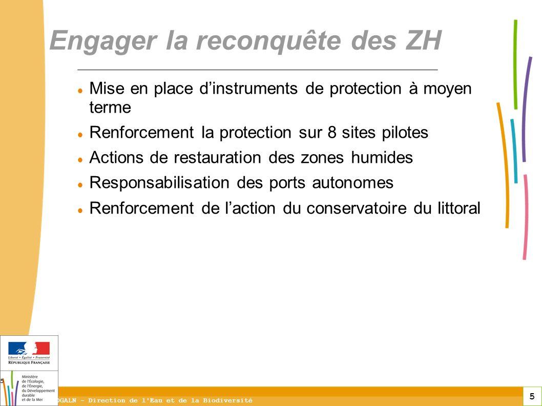 5 DGALN - Direction de l'Eau et de la Biodiversité 5 Mise en place dinstruments de protection à moyen terme Renforcement la protection sur 8 sites pil