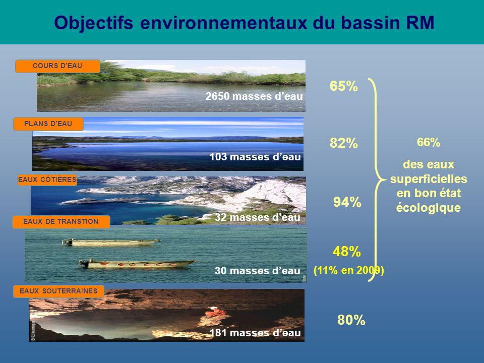 Objectifs environnementaux du bassin RM COURS DEAU PLANS DEAU EAUX CÔTIÈRES 103 masses deau EAUX SOUTERRAINES 2650 masses deau 181 masses deau 32 masses deau 30 masses deau 65% 82% 80% 94% 48% EAUX DE TRANSTION 66% des eaux superficielles en bon état écologique (11% en 2009)