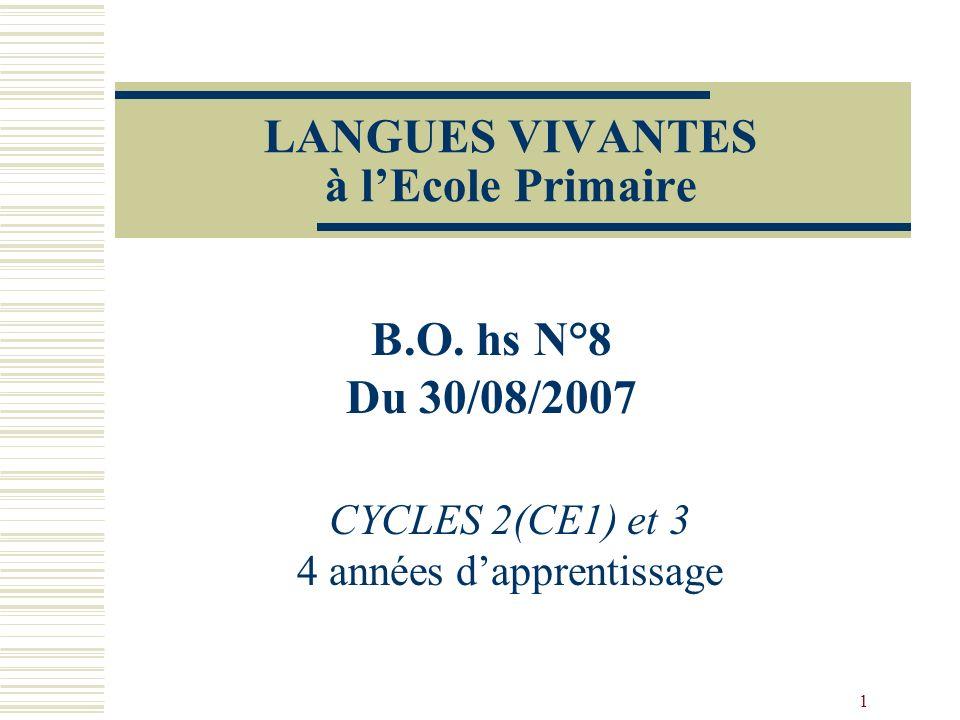 1 LANGUES VIVANTES à lEcole Primaire CYCLES 2(CE1) et 3 4 années dapprentissage B.O. hs N°8 Du 30/08/2007