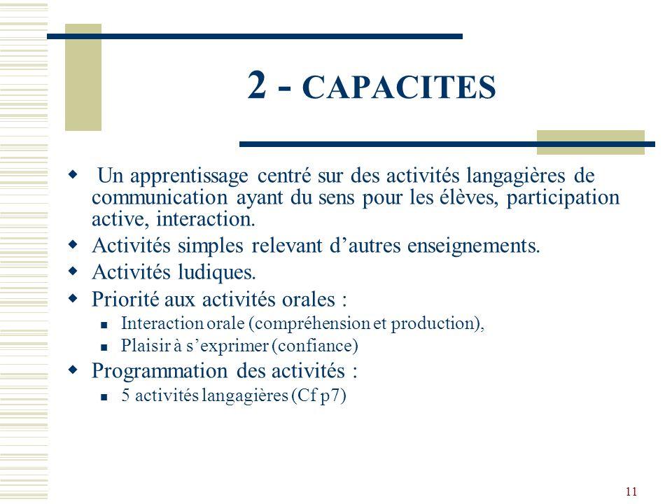 11 2 - CAPACITES Un apprentissage centré sur des activités langagières de communication ayant du sens pour les élèves, participation active, interacti