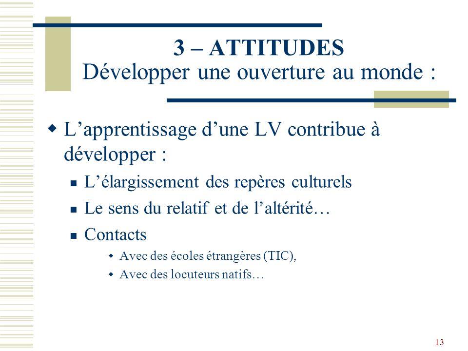 13 3 – ATTITUDES Développer une ouverture au monde : Lapprentissage dune LV contribue à développer : Lélargissement des repères culturels Le sens du r