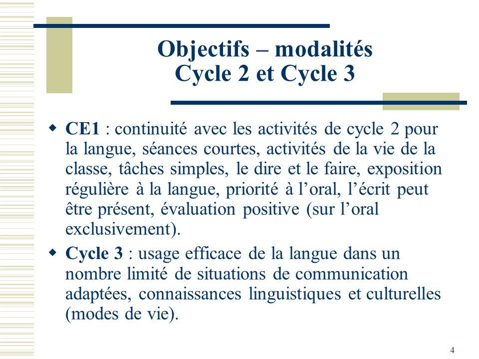 4 Objectifs – modalités Cycle 2 et Cycle 3 CE1 : continuité avec les activités de cycle 2 pour la langue, séances courtes, activités de la vie de la c