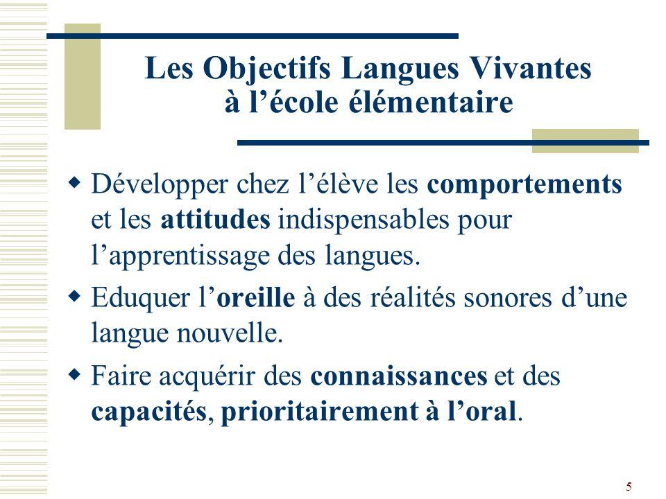 5 Les Objectifs Langues Vivantes à lécole élémentaire Développer chez lélève les comportements et les attitudes indispensables pour lapprentissage des