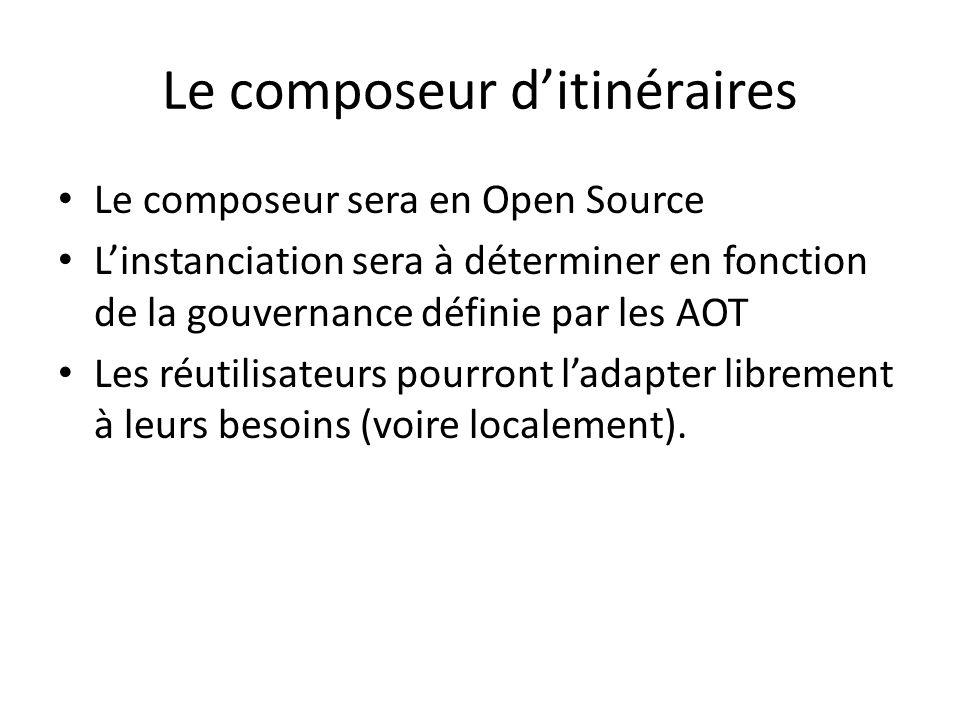 Le composeur ditinéraires Le composeur sera en Open Source Linstanciation sera à déterminer en fonction de la gouvernance définie par les AOT Les réut