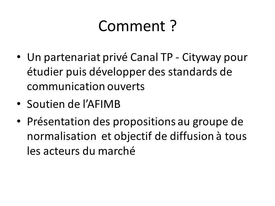 Comment ? Un partenariat privé Canal TP - Cityway pour étudier puis développer des standards de communication ouverts Soutien de lAFIMB Présentation d