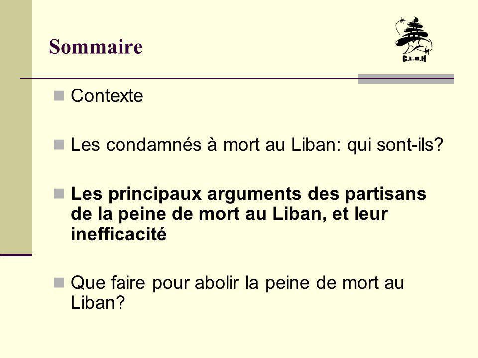 Sommaire Contexte Les condamnés à mort au Liban: qui sont-ils? Les principaux arguments des partisans de la peine de mort au Liban, et leur inefficaci