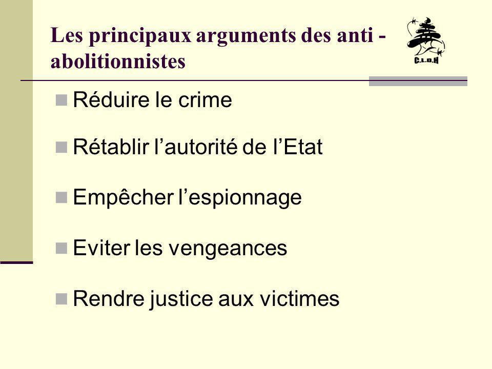Les principaux arguments des anti - abolitionnistes Réduire le crime Rétablir lautorité de lEtat Empêcher lespionnage Eviter les vengeances Rendre jus