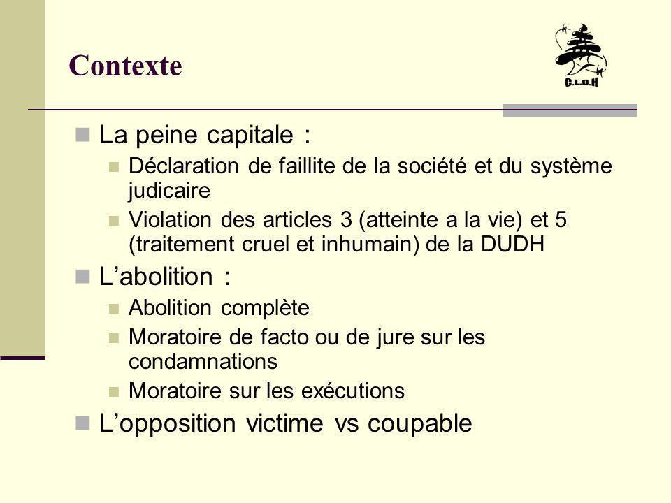Contexte La peine capitale au Liban De lindépendance à 1983 Une trentaine dexécutions capitales De 1983 à 1994 Aucune exécution capitale De 1994 a 1998 le drame de la loi 302 14 personnes exécutées