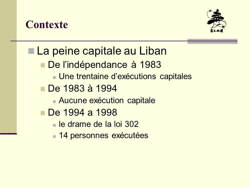 Contexte La peine capitale au Liban De lindépendance à 1983 Une trentaine dexécutions capitales De 1983 à 1994 Aucune exécution capitale De 1994 a 199