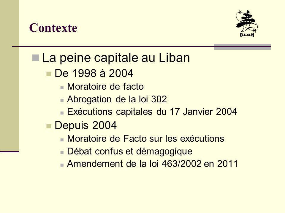 Contexte La peine capitale au Liban De 1998 à 2004 Moratoire de facto Abrogation de la loi 302 Exécutions capitales du 17 Janvier 2004 Depuis 2004 Mor