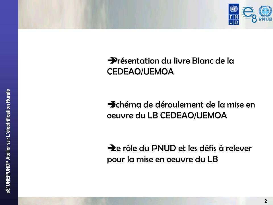 e8/ UNEP/UNDP Atelier sur L électrification Rurale 2 Présentation du livre Blanc de la CEDEAO/UEMOA Schéma de déroulement de la mise en oeuvre du LB CEDEAO/UEMOA Le rôle du PNUD et les défis à relever pour la mise en oeuvre du LB