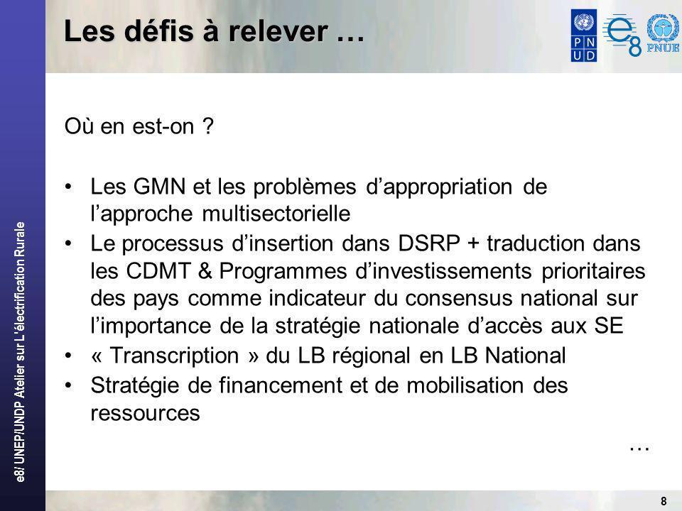 e8/ UNEP/UNDP Atelier sur L électrification Rurale 8 Où en est-on .