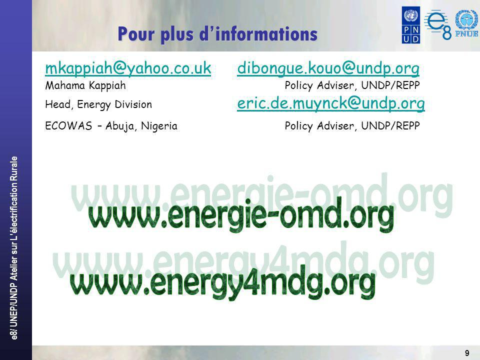 e8/ UNEP/UNDP Atelier sur L'électrification Rurale 9 mkappiah@yahoo.co.uk mkappiah@yahoo.co.uk dibongue.kouo@undp.org dibongue.kouo@undp.org Mahama Ka