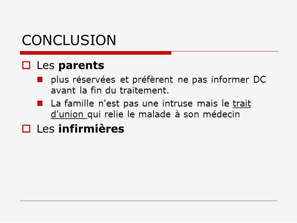 CONCLUSION Les parents plus réservées et préfèrent ne pas informer DC avant la fin du traitement. La famille n'est pas une intruse mais le trait d'uni