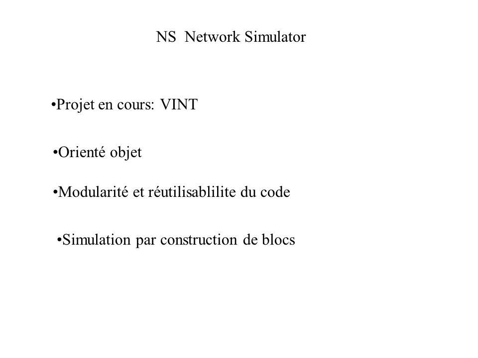 NS Network Simulator Projet en cours: VINT Simulation par construction de blocs Orienté objet Modularité et réutilisablilite du code