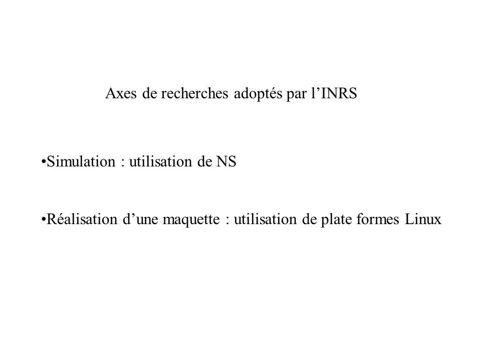 Axes de recherches adoptés par lINRS Simulation : utilisation de NS Réalisation dune maquette : utilisation de plate formes Linux