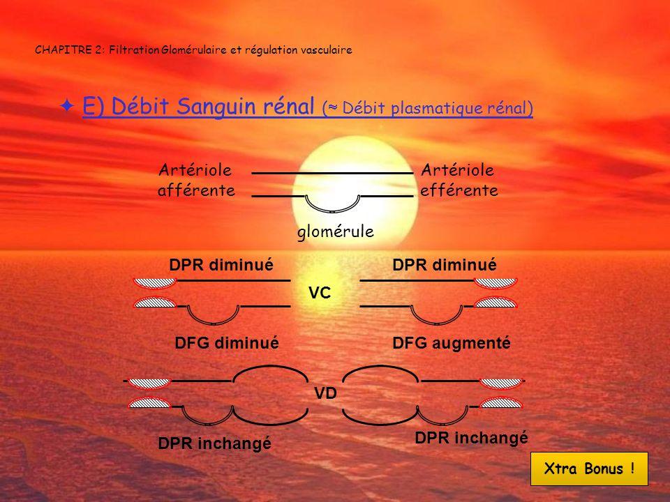 CHAPITRE 2: Filtration Glomérulaire et régulation vasculaire E) Débit Sanguin rénal ( Débit plasmatique rénal) Artériole afférente Artériole efférente
